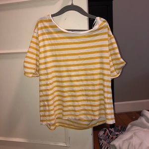 H&M cropped striped yellow and white tee